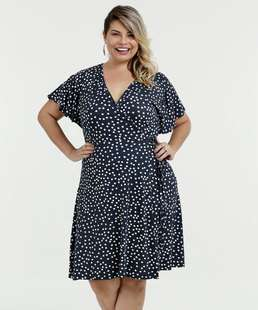 Vestido Feminino Plus Size Transpassado Estampa Bolinhas Marisa