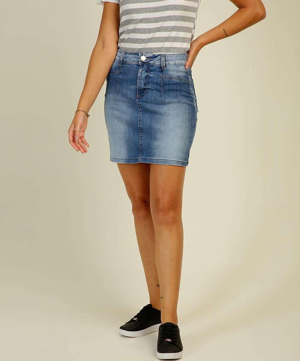 Saia Feminina Jeans Stretch Sawary