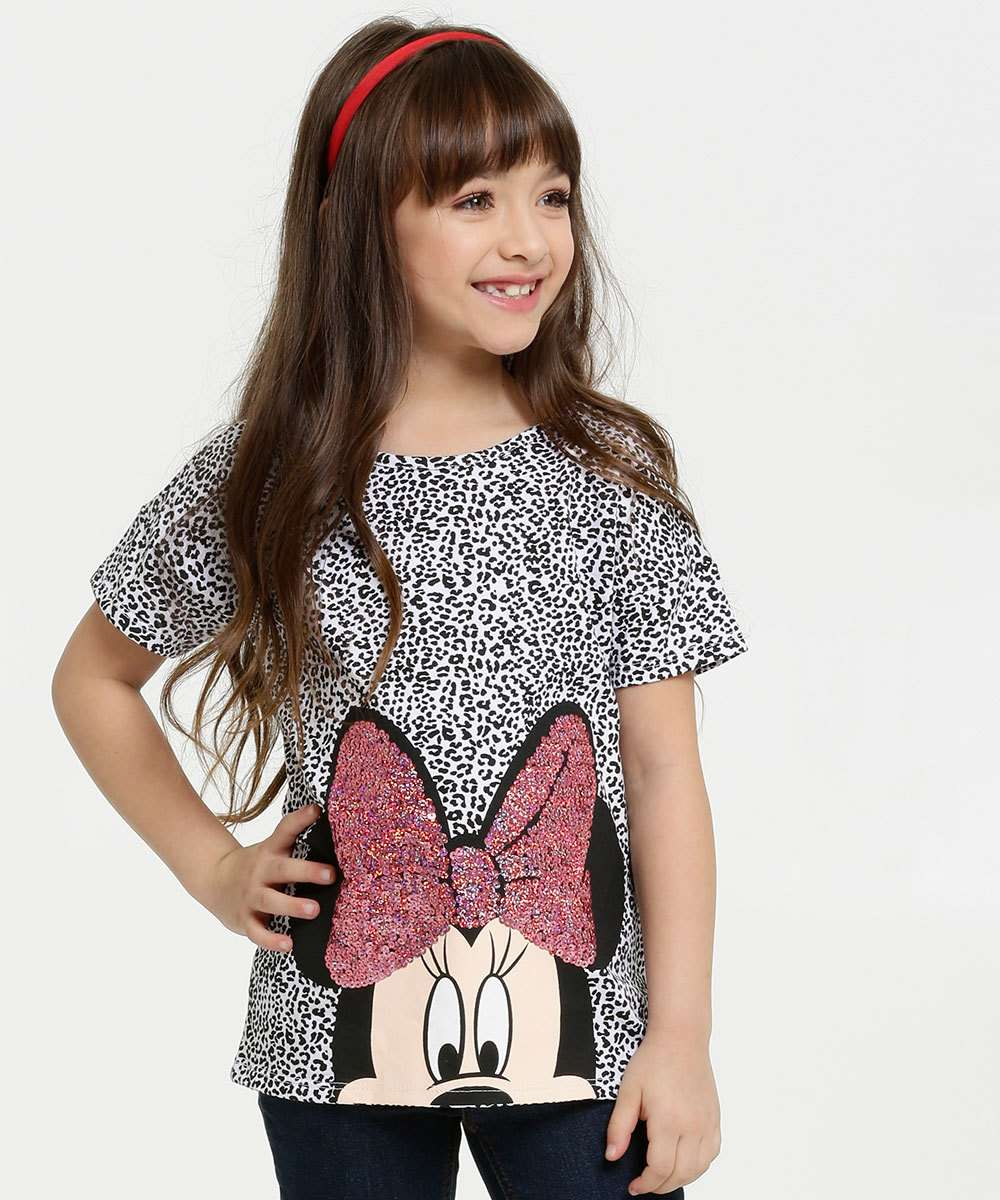 Blusa Infantil Estampa Animal Print Minnie Disney