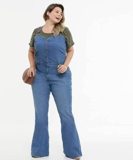 Image_Macacão Plus Size Feminino Jeans Flare Alças Finas