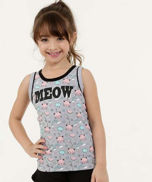 Image_Regata Infantil Estampa Gato Glitter