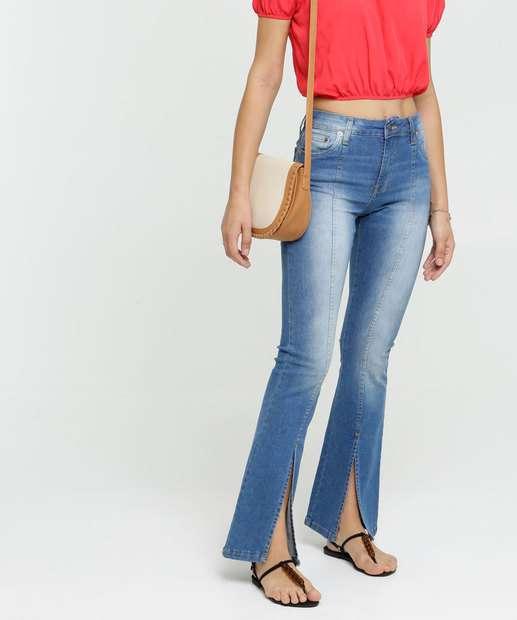 Image_Calça Jeans Flare Feminina Cintura Alta Fenda Disparate