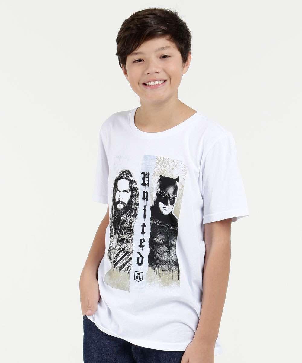 Camiseta Juvenil  Estampa Aquaman E Batman Liga da Justiça