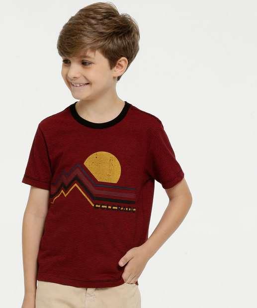 Image_Camiseta Infantil Listrada Estampa Frontal Manga Curta MR