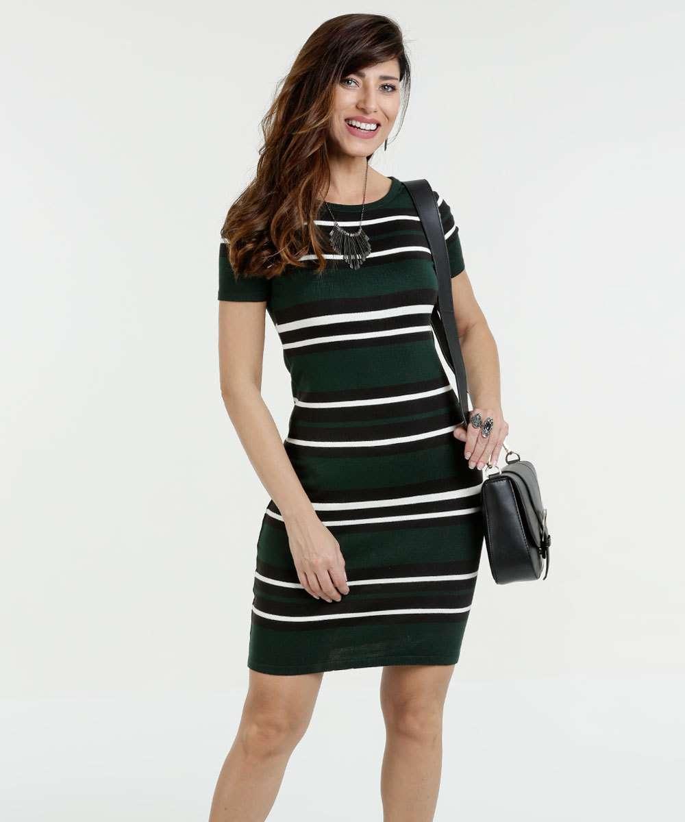 433d1c0da Vestido Feminino Malha Listrado Marisa | Menor preço com cupom