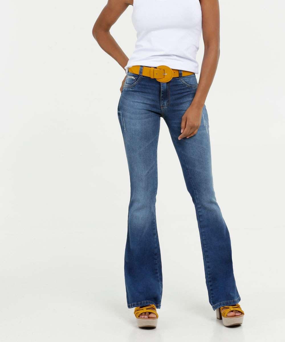 Calça Jeans Flare Feminina Strass Biotipo