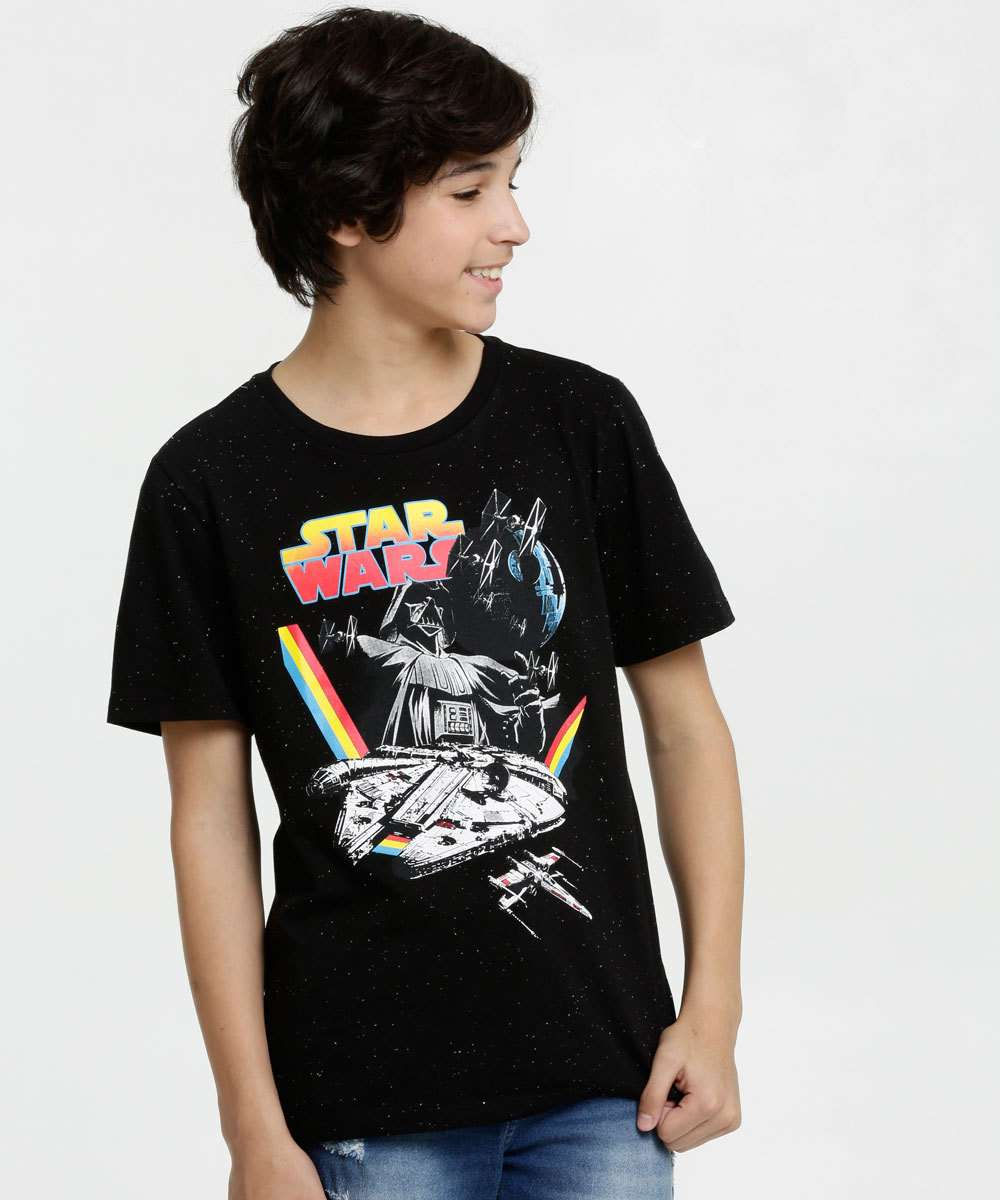 Camiseta Juvenil Botonê Estampa Star Wars Disney