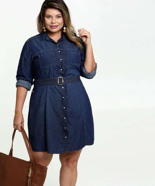 Image_Vestido Feminino Jeans Chemise Plus Size