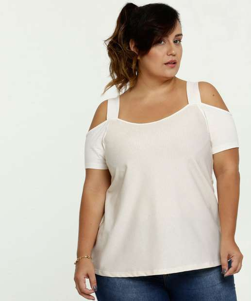 Image_Blusa Feminina Open Shoulder Lurex Plus Size Manga Curta