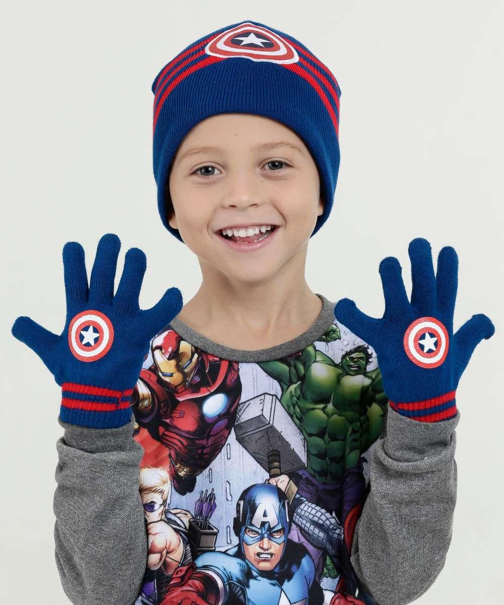 Kit Touca Luvas Estampa Capitão América Marvel