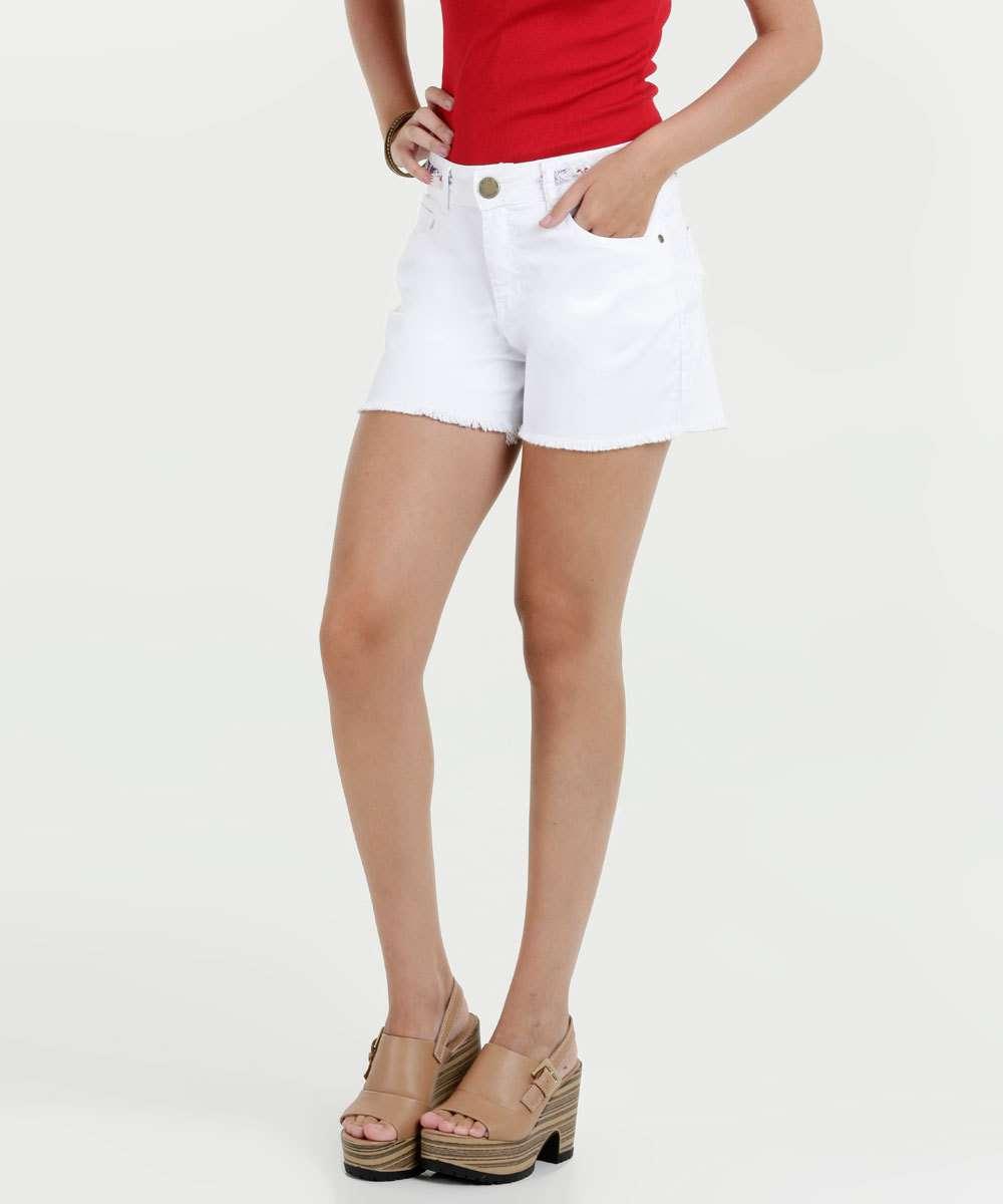 Short Feminino Sarja Barra Desfiada Five Jeans