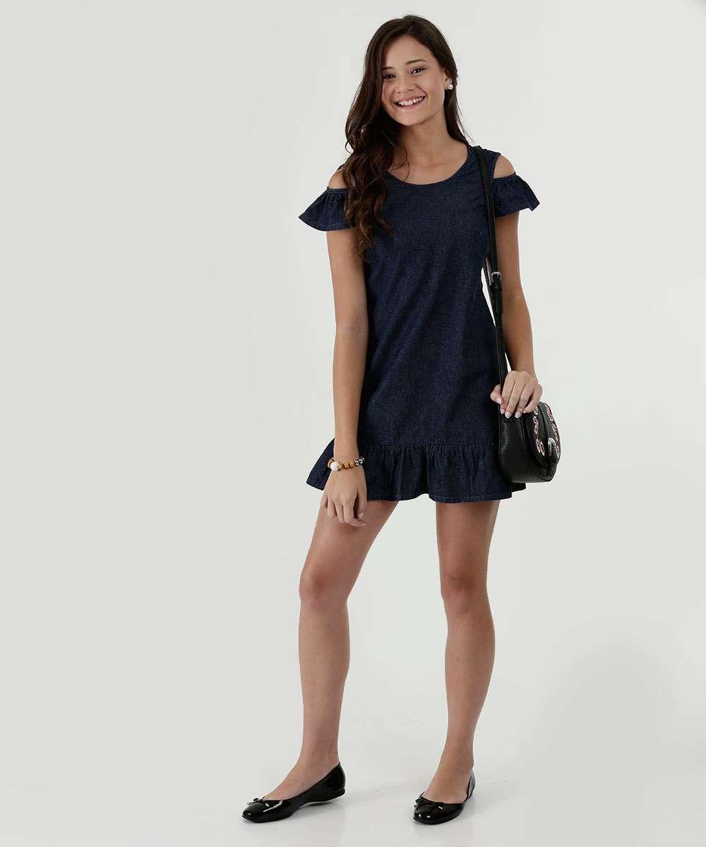 92facddd4 Vestido Juvenil Jeans Open Shoulder Marisa