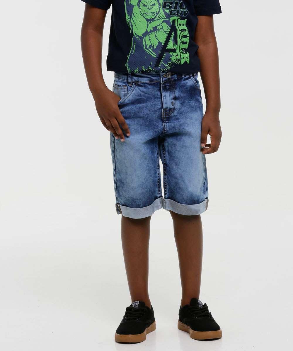 Bermuda Infantil Jeans Barra Dobrada Tam 4 a 8