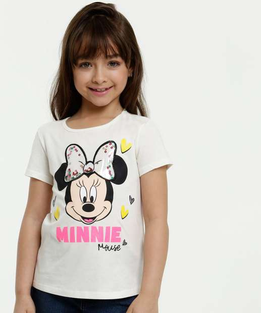 Image_Blusa Infantil Estampa Minnie Paetês Manga Curta Disney