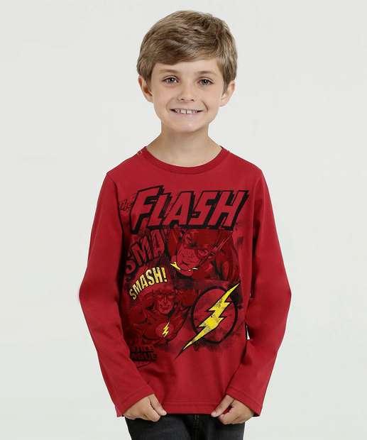 Image_Camiseta Infantil Estampa Flash Manga Longa Liga da Justiça