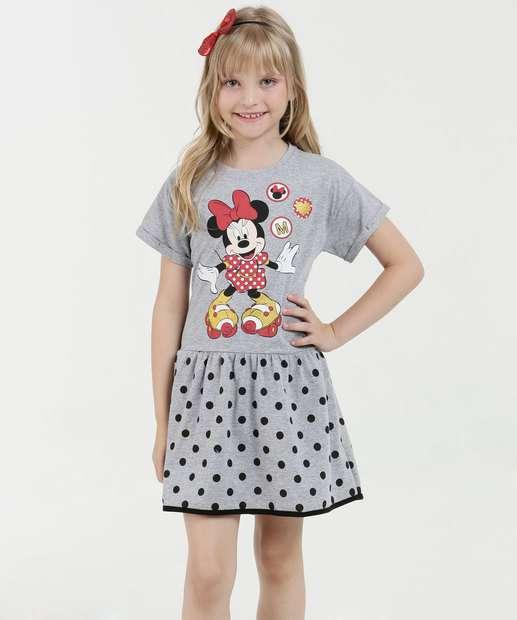 Image_Vestido infantil Estampa Minnie Glitter Manga Curta Disney