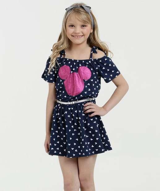Image_Vestido Infantil Estampa Mickey Brilho Manga Curta Disney