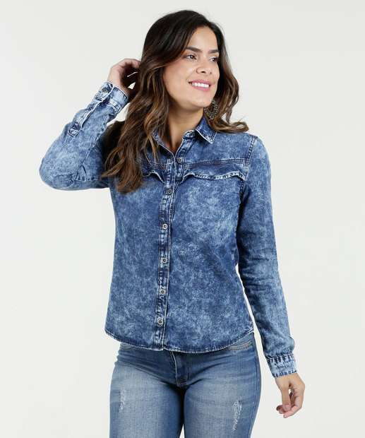 Image_Camisa Feminina Jeans Marmorizada Babado Marisa