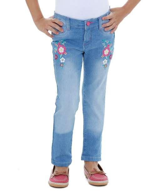 Image_Calça infantil Jeans Bordado Floral Marisa