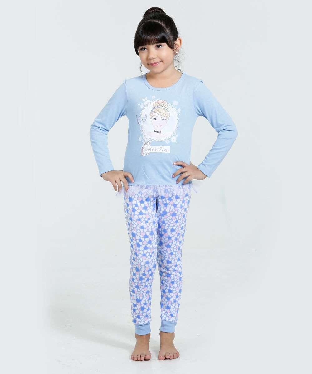 Pijama Infantil Cinderela Manga Longa Disney