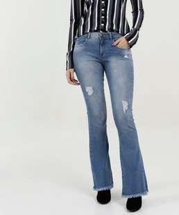 Calça Feminina Jeans Flare Destroyed Barra Desfiada Marisa