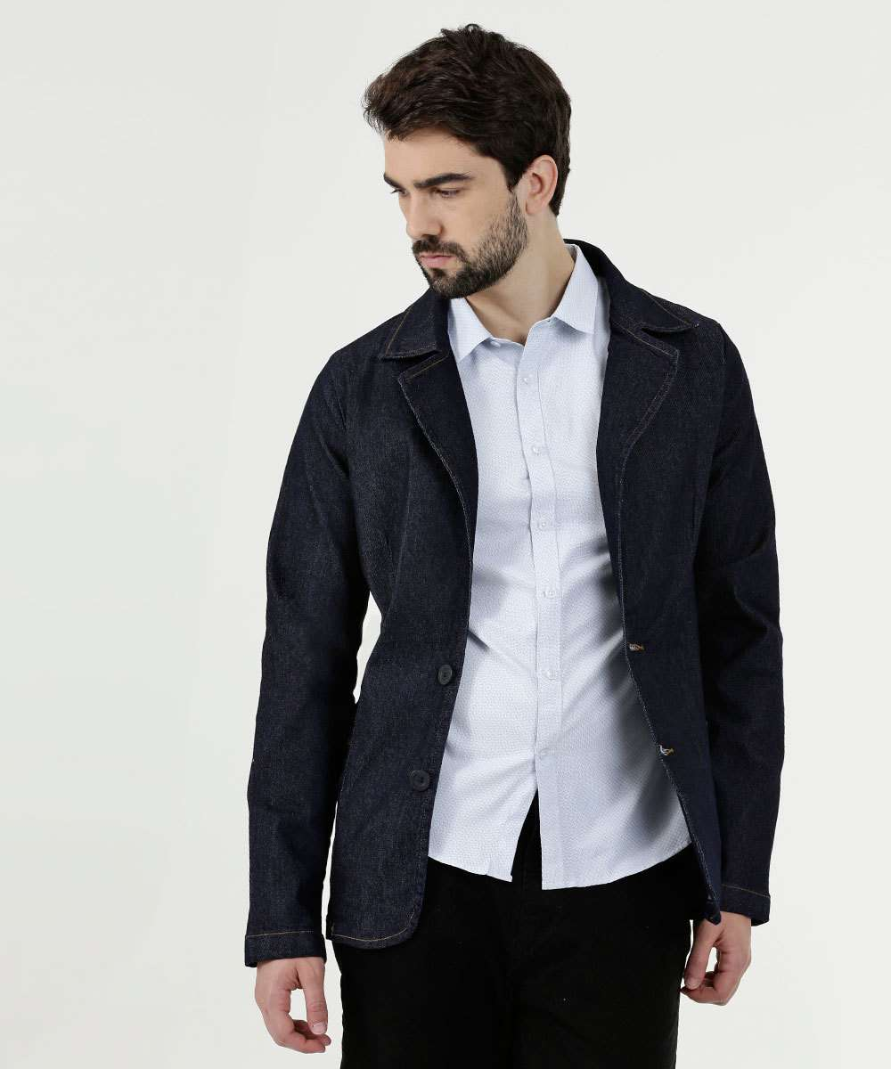 Blazer Masculino Jeans Stretch Rock & Soda