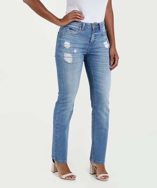 5f7bf218d Calça Feminina Jeans Reta Cintura Média Marisa