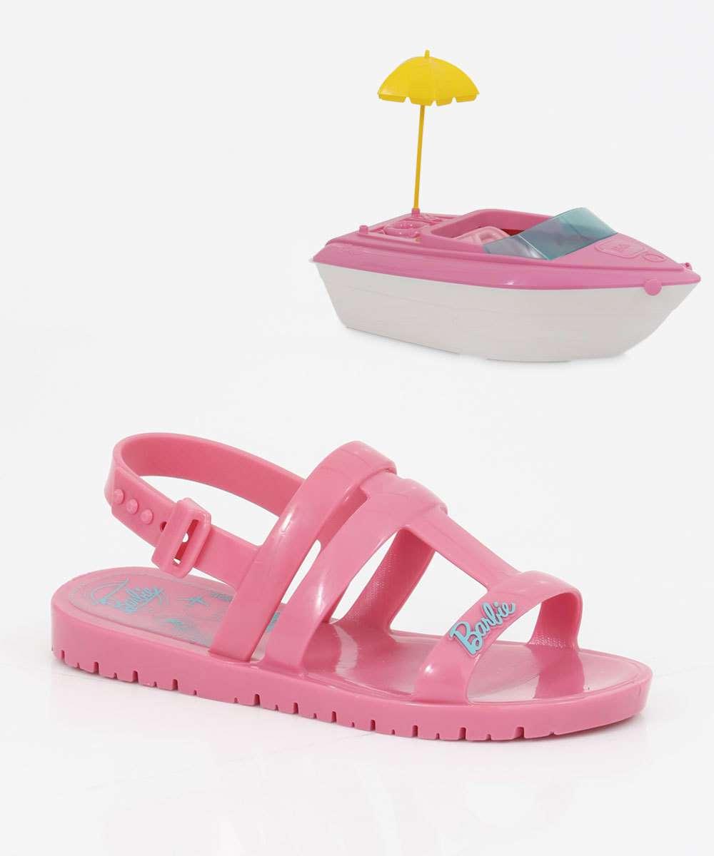 Sandália Infantil Barbie Brinde Iate Grendene Kids