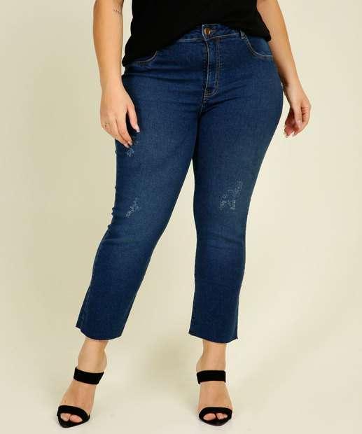 Image_Calça Plus Size Feminina Jeans Puídos Capri