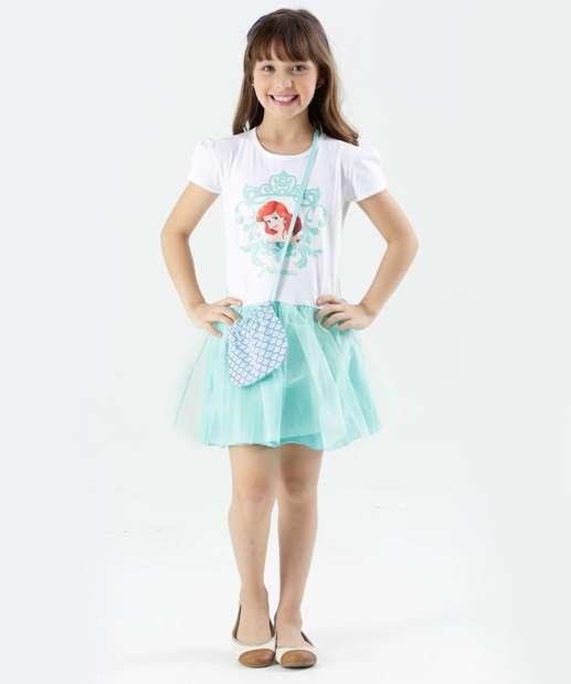 Image_Vestido Infantil Ariel Brilho Bolsa Disney