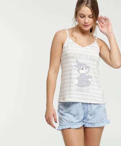 Image_Pijama Feminino Estampa Bambi Alças Finas Disney