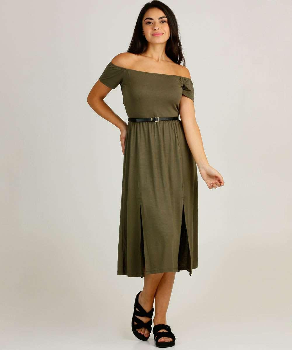 Vestido Feminino Midi Ciganinha Fenda