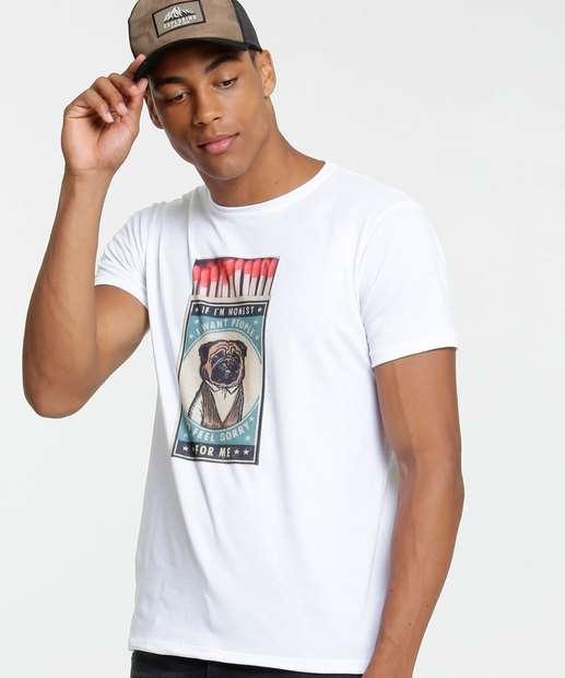 Image_Camiseta Masculina Estampa Cachorro Manga Curta