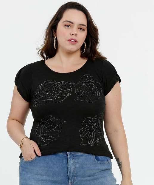 Image_Blusa Feminina Flamê Tachas Folhas Plus Size