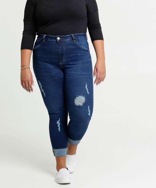 Image_Calça Jeans Destroyed Cigarrete Feminina Plus Size