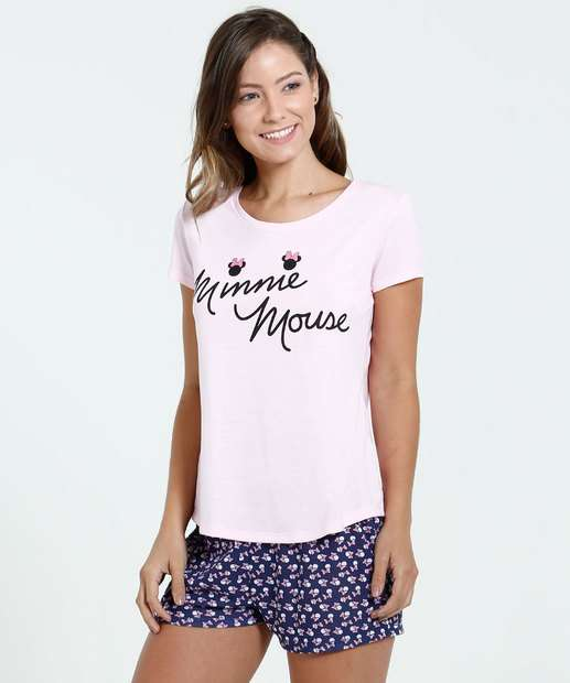 Image_Pijama Feminino Short Doll Estampa Minnie Disney