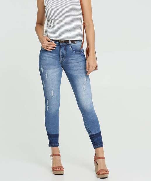Image_Calça Jeans Puídos Cigarrete Feminina Cinto Biotipo