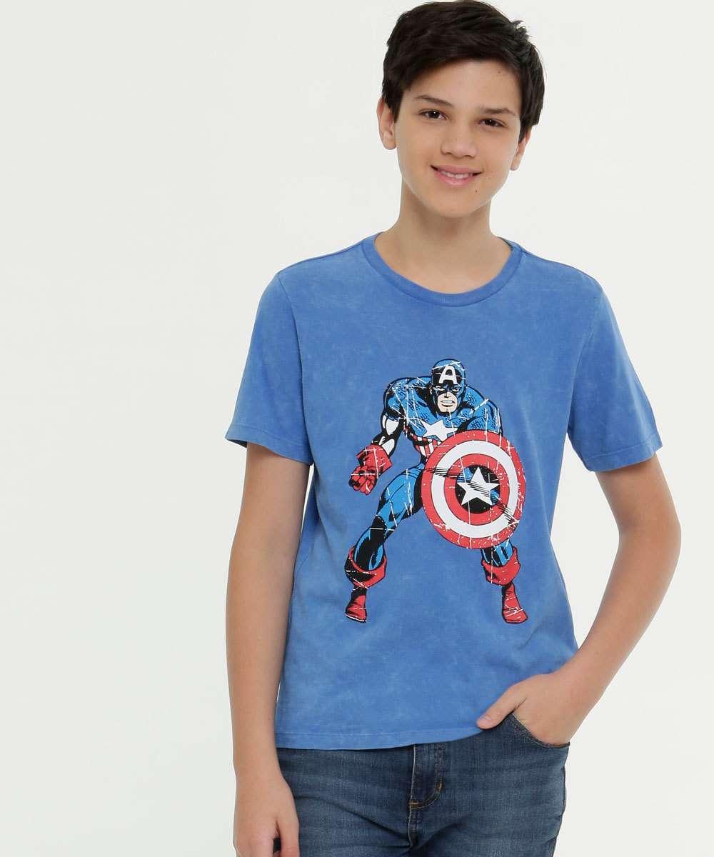Camiseta Juvenil Estampa Capitão America Marvel