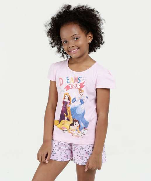 Image_Pijama Infantil Estampa Princesas Manga Curta Disney