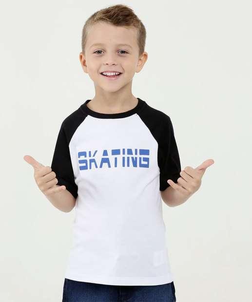 Image_Camiseta Infantil Bicolor Estampa Frontal Manga Curta Marisa
