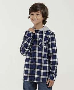 2790fa81d Camisa Infantil Estampa Xadrez Manga Longa Marisa
