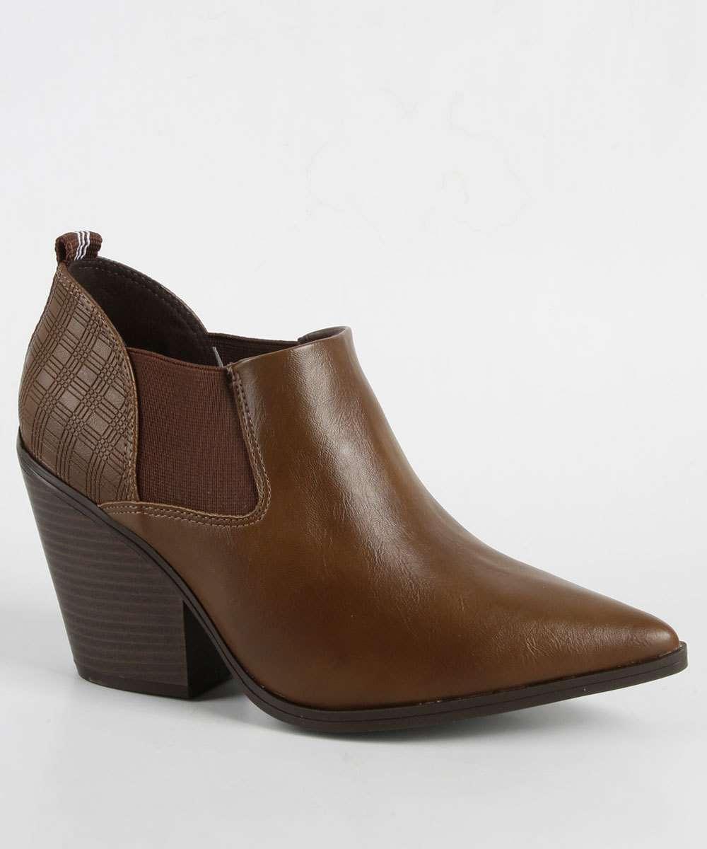 Bota Feminina Ankle Boot Textura Salto Alto Ramarim