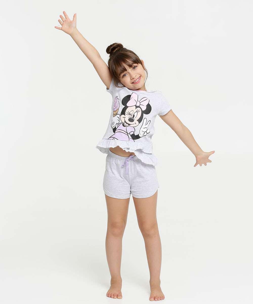 Pijama Infantil Estampa Minnie Manga Curta Disney