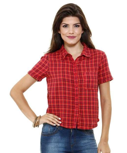 Camisa feminina manga curta estampa xadrez Marisa  c11bb9309f245