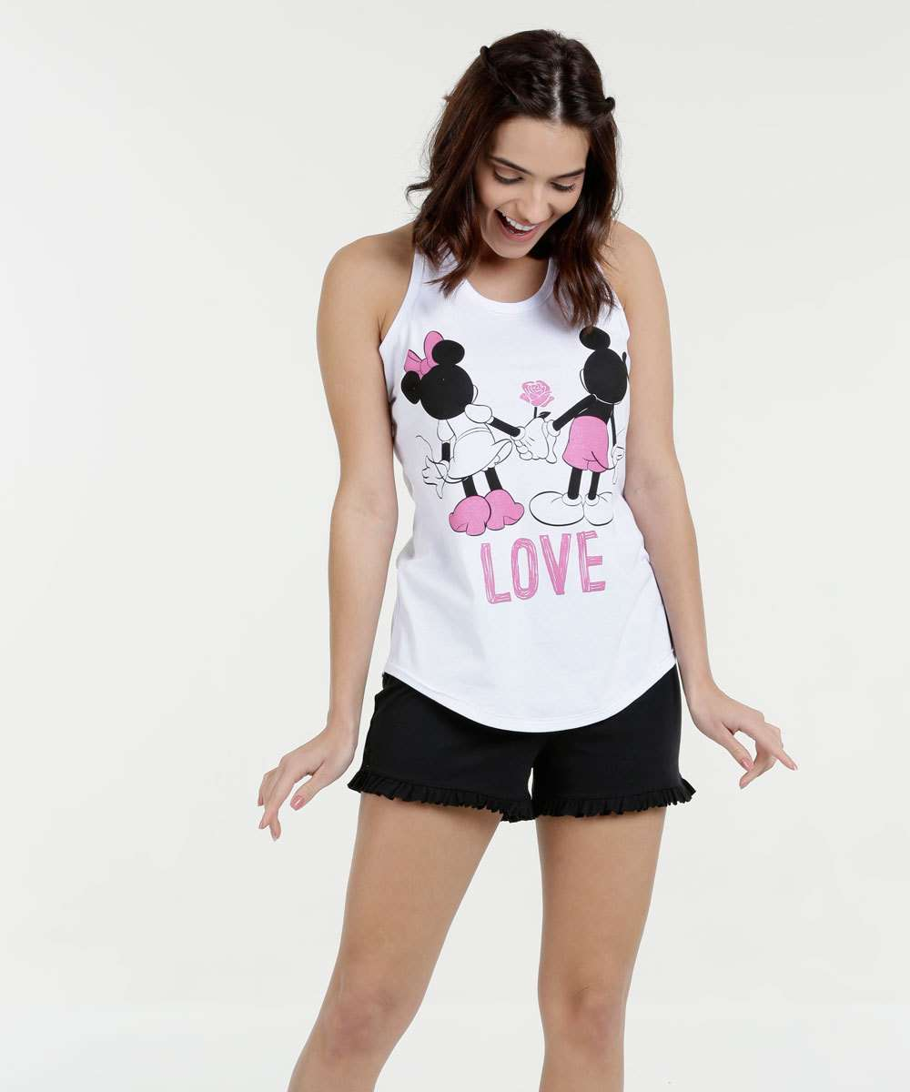 Pijama Feminino Short Doll Minnie e Mickey Nanador Disney
