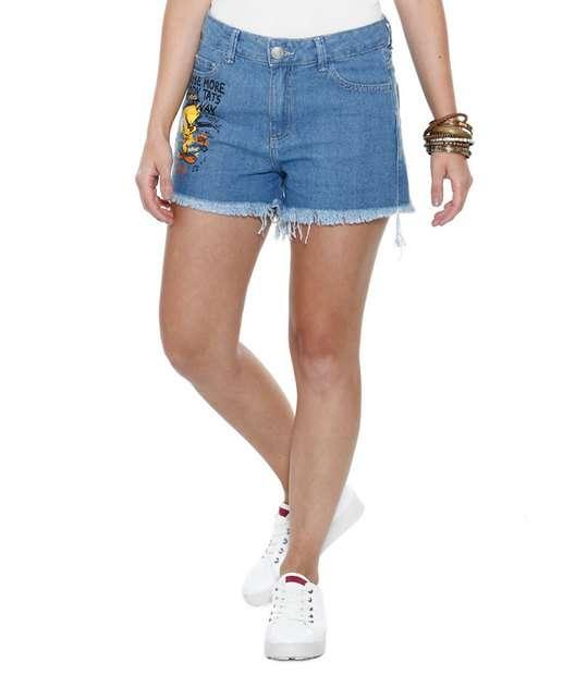 Image_Short feminino jeans Piu Piu Looney Tunes
