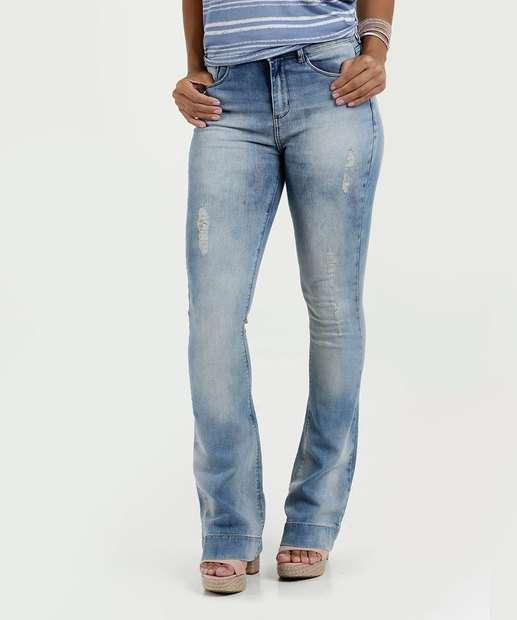 Image_Calça Feminina Jeans Flare Destroyed Cintura Alta Marisa