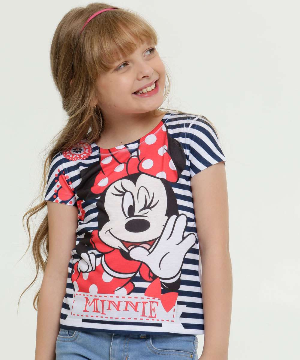 Blusa Infantil Estampa Minnie Manga Curta Disney