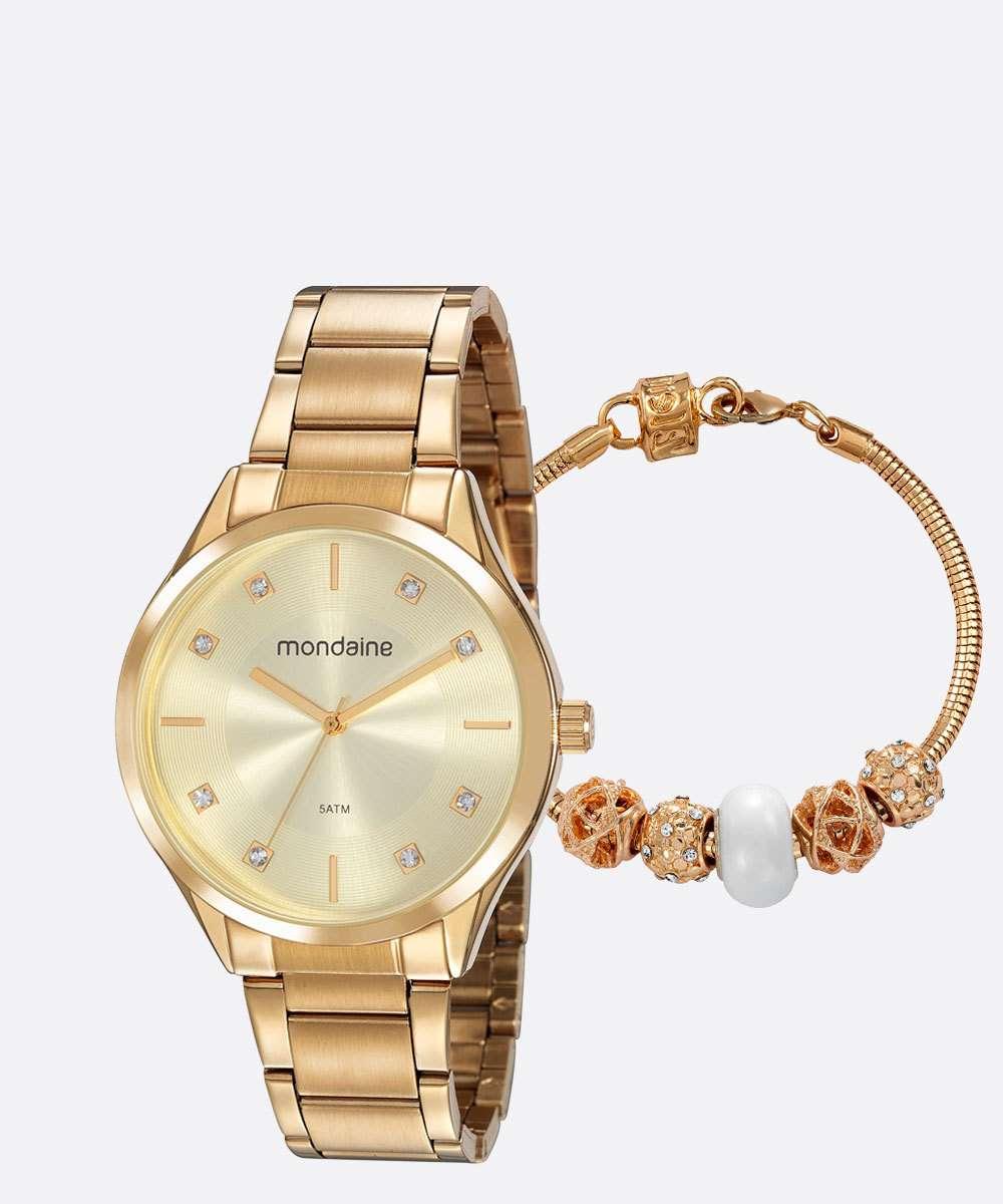Kit Relógio Feminino Strass Mondaine 53818LPMVDE1