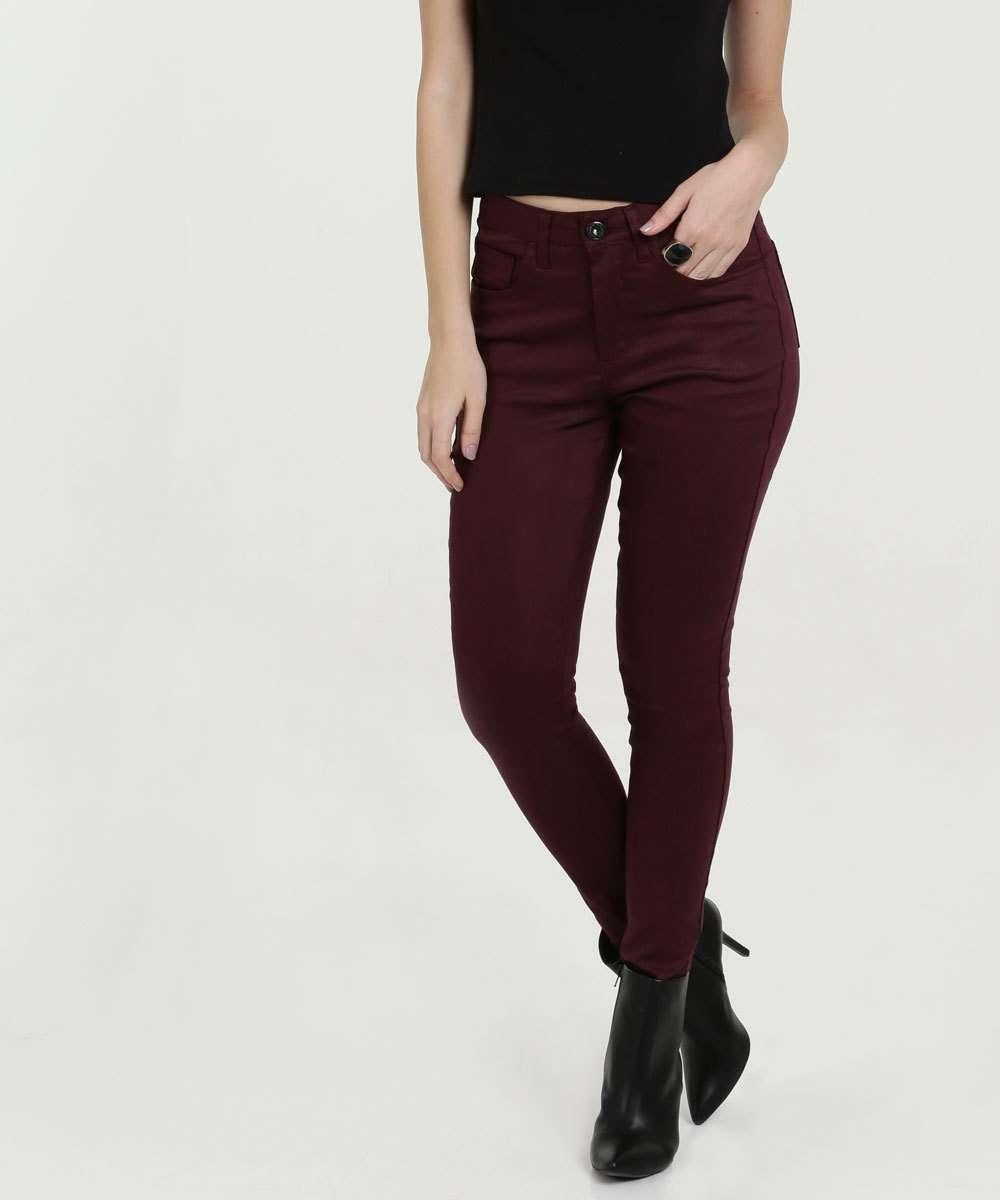 Calça Feminina Sarja Skinny Cintura Média Razon